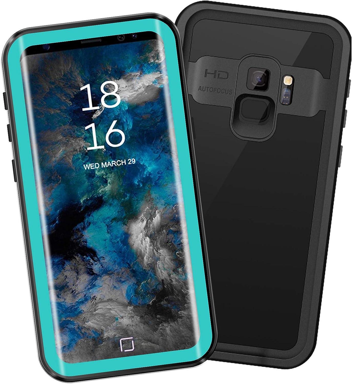 EFFUN Samsung Galaxy S9 Waterproof Case, IP68 Certified Waterproof Underwater Cover Dustproof Snowproof Shockproof Case with Phone Stand, PH Test Paper and Floating Strap Black/White/Aqua Blue
