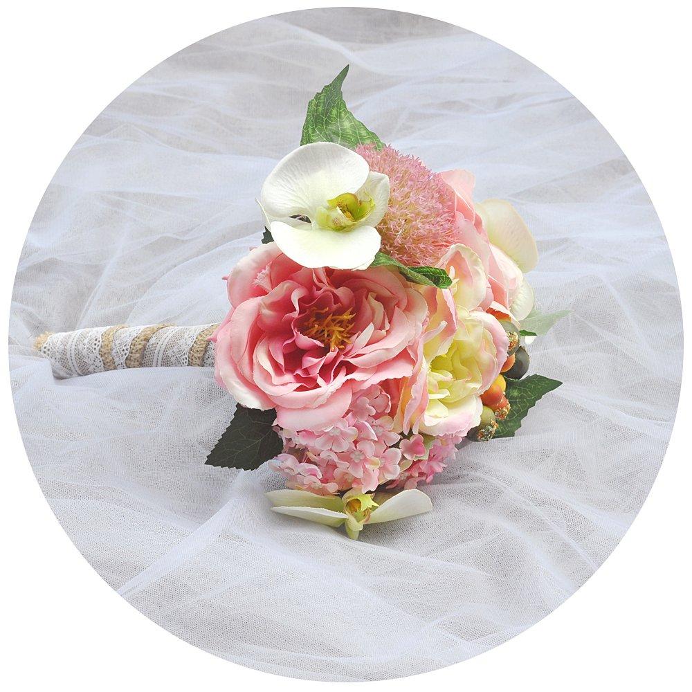 ulapanのウェディングBouquets、人工花、ウェディング、ブライダルBouquets花、花嫁介添人ブーケ花、ウェディングシルクRoses Bouquets、blush-pink、f18 B07CVB2HW1