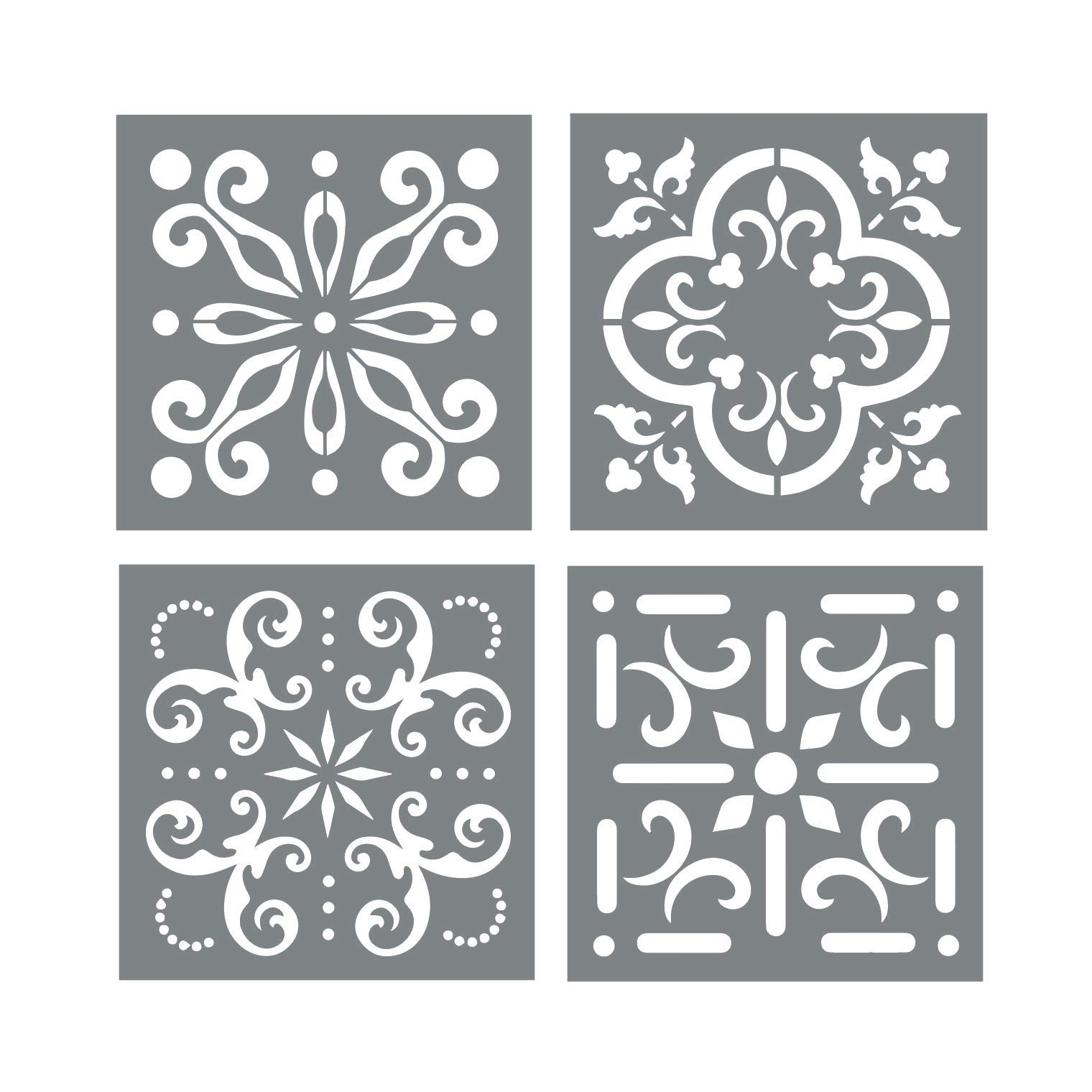 Mexican Tile Stencil Set - Pack of Four 4x4 Tile Stencil Designs for Painting - Wall or Floor Tile Stencil Designs - for Making Mosaic Tile Stencil Patterns by I like that lamp