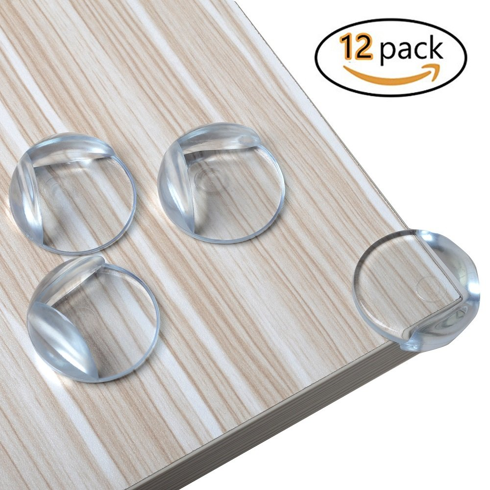 Kichwit Baby Proofing Clear Corner Guards - Furniture Corner Safety Bumpers - Keep Children Safe & Protect Them From Injury Around the House, 12 Pack