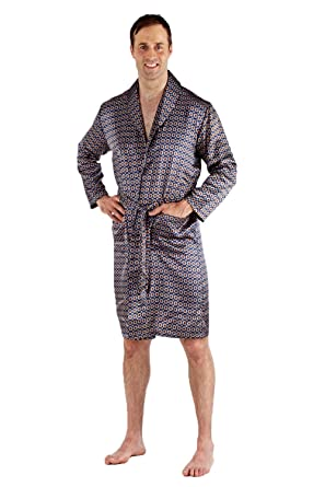 Mens Paisley Summer Kimono Wrap Light Satin Dressing Gown Robe Blue ...