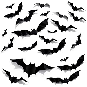 Halloween 3D Bats Decoration, 60 Pcs Large Removable 3 Styles PVC Scary Bats Window Decal Wall Sticker with 4 Different Sizes for Halloween Decor Party Supplies