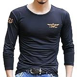 (ガン フリーク) GUN FREAK ミリタリー 長袖Tシャツ ロンT USNV プリント サバゲー メンズ トップス (ブラック, L)