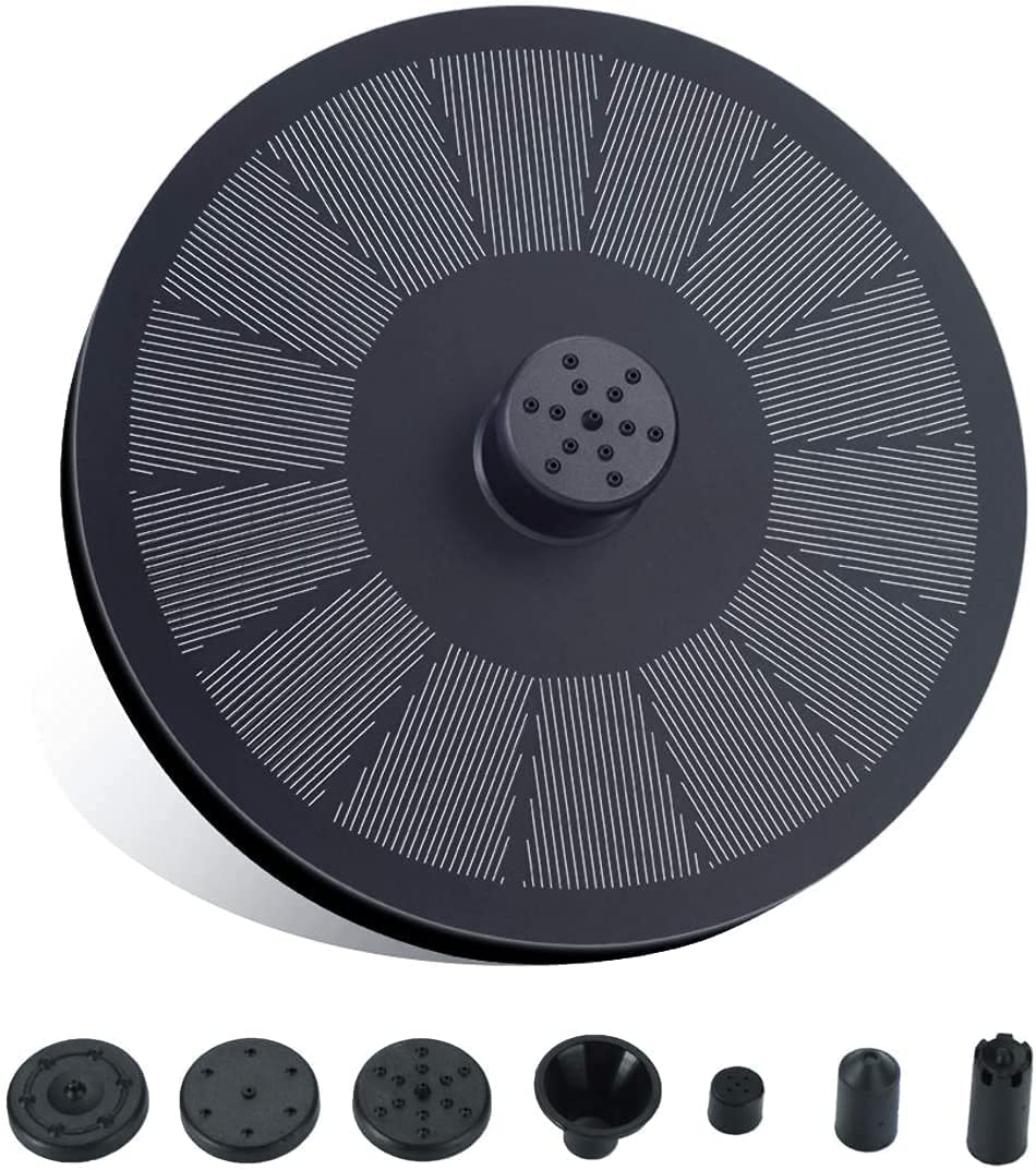 LoiStu 3.5W Solar Fountain Pump, Built-in 1200mAh Backup Battery, with Fixed Pole and 6 Types of Nozzles, Used for Bird Bath, Ponds, Swimming Pools, Fish Ponds and Gardens