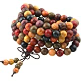 SUNYIK 108 Tibetan Buddhist Mala Bracelet Natural Wood Beaded Prayer Bead for Meditation