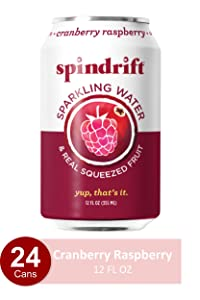 Spindrift Sparkling Water, Cranberry Raspberry Flavored, Made with Real Squeezed Fruit, 12 Fl Oz Cans, Pack of 24 (Only 8 Calories per Seltzer Water Can)