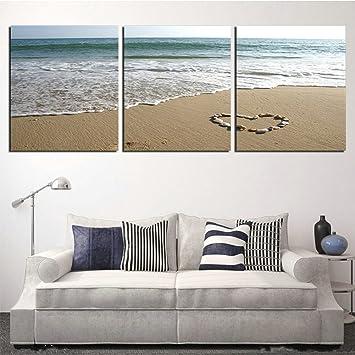 Amazon.de: H.COZY 3 Panels Wall Art Bilder Romantic Beach Schöne ...