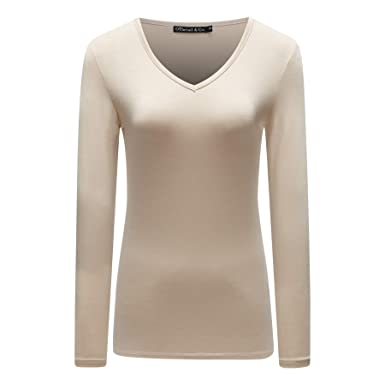 39754ab02 OThread   Co. Women s Long Sleeve T-Shirt V-Neck Basic Layer Spandex ...