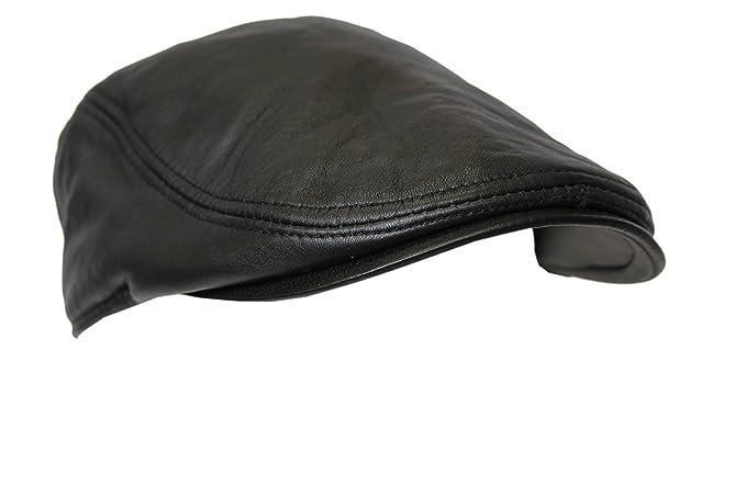 29005256a9e Men Leather Ivy Cap Black Lambskin Bunnet Newsboy Beret Cabbie Gatsby Flat  Golf Hat  Amazon.co.uk  Clothing