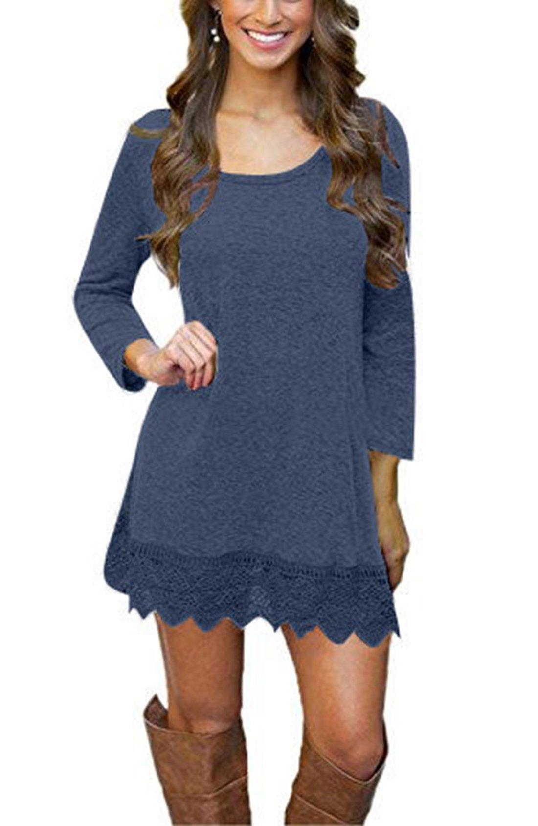 Our Precious Women's Casual Long Sleeve Lace Hem A-Line Shirt Dress Tunic Tops Navy XL