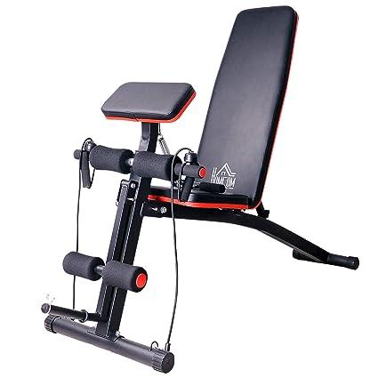 HOMCOM Banco de Mancuerna Plegable Inclinable Banco de Pesas Musculación Multifuncional para Entrenamiento Completo Máquina de