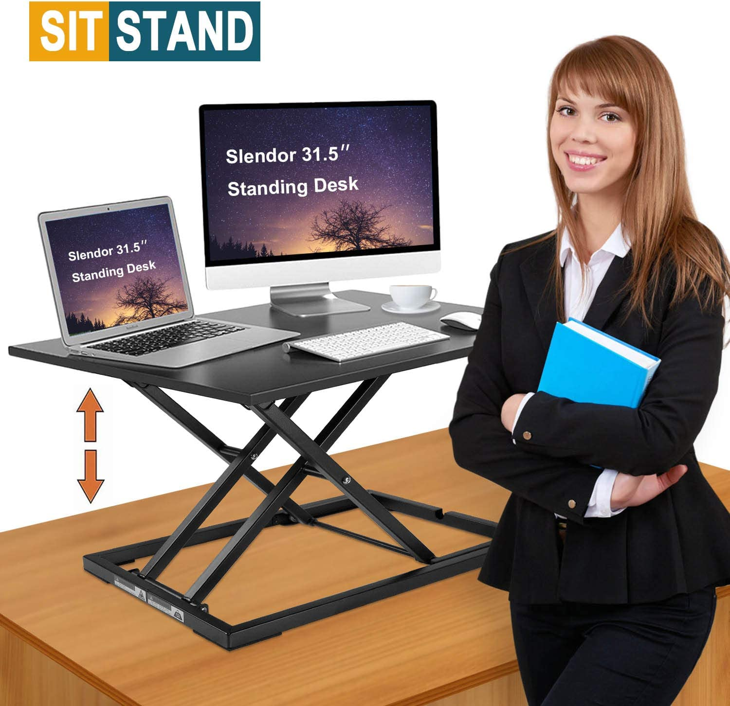 Slendor Standing Desk Stand Up Desks Height Adjustable 31.5 inch Sit Stand Converter Dual Monitor Ergonomic Air Riser Laptop Stands Large Rising Desktop Computer Table Workstation Foldable Home Office