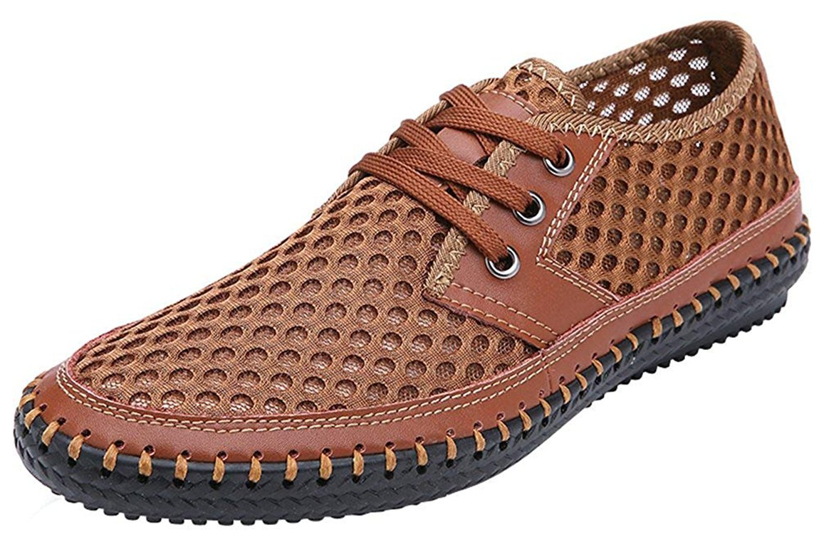 Forucreate Men's Casual Flat Lace up Walking Shoes Summer Breathable Mesh Quick Dry Water Aqua Shoes (Brown 46)