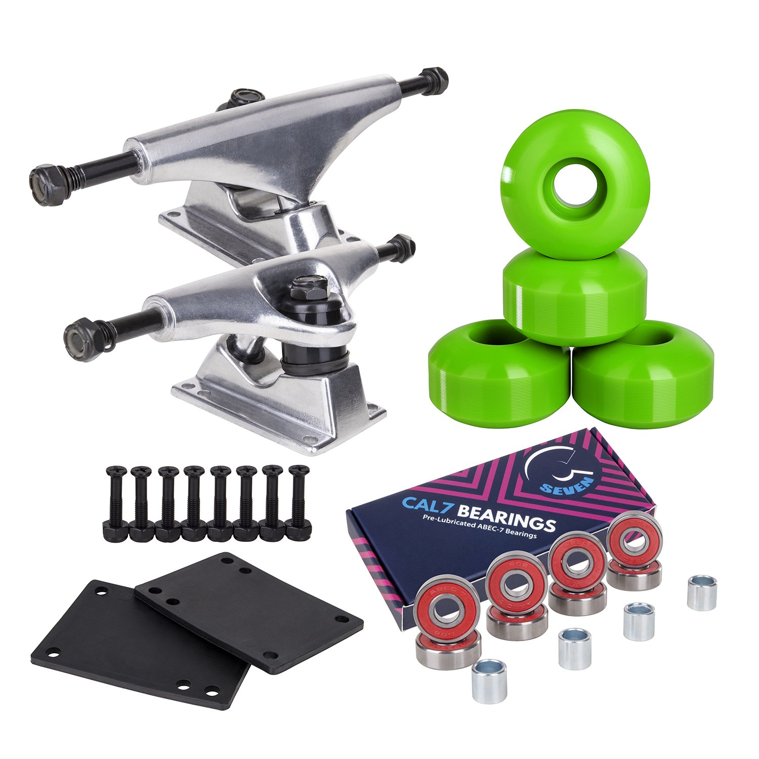 Cal 7 Skateboard Package Combo with 5 Inch / 129 Millimeter Trucks, 52mm 99A Wheels, Complete Set of Bearings and Steel Hardware (Silver Truck + Green Wheels) by Cal 7