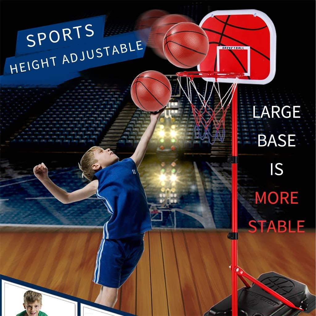 Suading Basketball Stands Height Adjustable Kids Basketball Goal Hoop Toy Set Basketball for Boys Training Practice Accessories