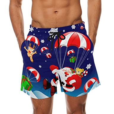 a496724a99 Bennigiry Men's Christmas Skiing Chevron Surf Swim Trunks Quick Dry Beach  Pants Board Shorts
