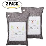 Audew 2 Pack Air Purifier, Air Purifying Bamboo Bag Car Air Freshener Natural Air Cleaning Bag Home Air Purifiers, Activated Carbon Filter for Cars, Closets, Bathrooms and Pet Areas, 205g/ Bag