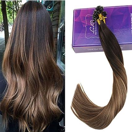 LaaVoo 22Pulgada Nail Tip Extensiones de Cabello Natural Mechas 50Hebras/50Gramos Real Brazilian Human Hair