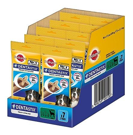 PEDIGREE DentaStix Hundesnack für große Hunde (25kg+), Zahnpflege-Snack mit Huhn und Rind, 10 Packungen je 7 Stück (10 x 270