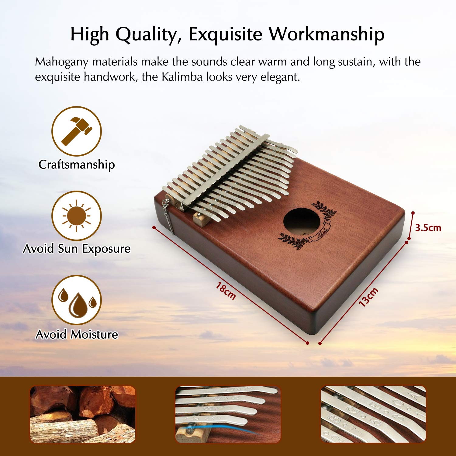 Kalimba, Abida Exquisite 17 Keys Thumb Piano with EVA Waterproof Case Study Instruction Tuning Hammer, Solid Finger Piano Mahogany Body Portable Musical Instrument Gifts for Kids and Adult Beginners by Abida (Image #4)