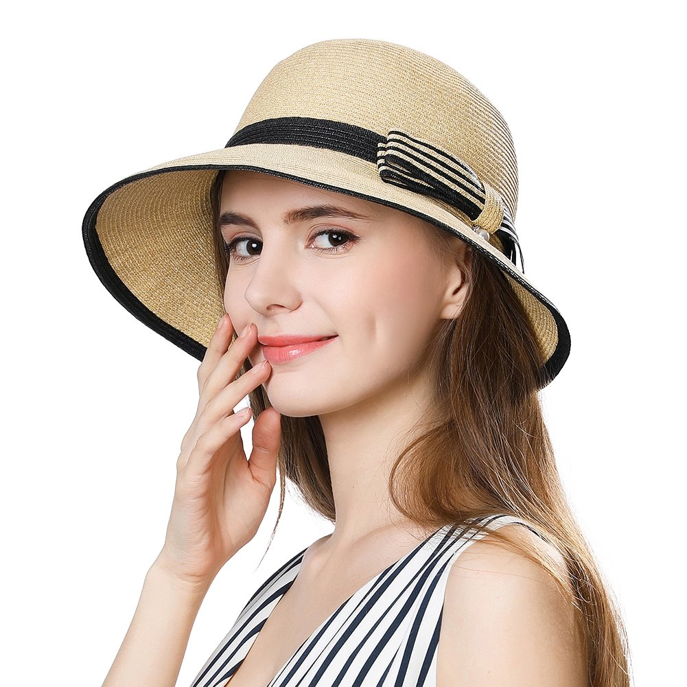 SiggiHat Summer Straw Sun Hat Women Beach Floppy Fedora Panama Hats SPF Travel Foldable Wide Brim Beige