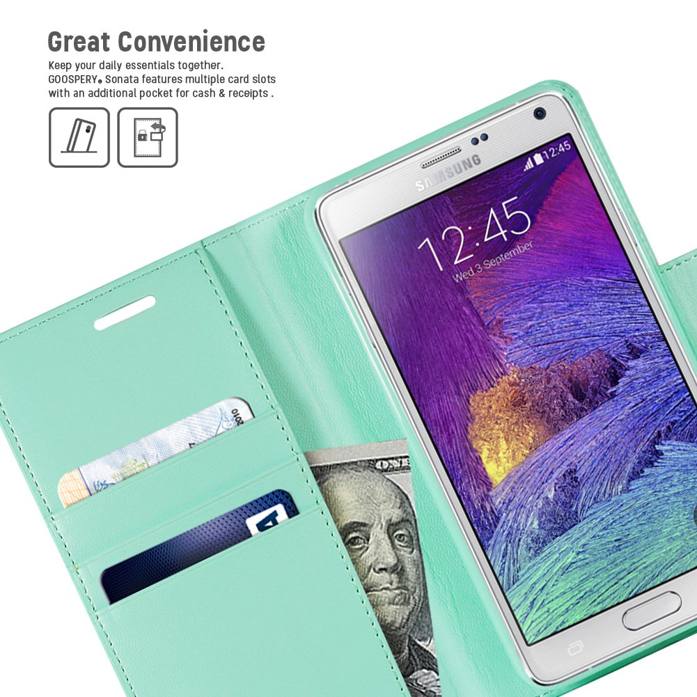 Galaxy Note 4 Case Drop Protection Goospery Sonata Samsung 8 Fancy Diary Navy Lime Wallet Premium Soft Synthetic Leather Id Credit Card Slots Cash