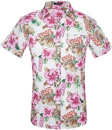 Sencillo Vida Camisa de Hombre Estampada Manga Corta Camisa Casual Hombres Camisas Hombre Impresión Hawaiana Verano Regular Fit Camisa Clásico Básico Botones para Hombre: Amazon.es: Ropa y accesorios