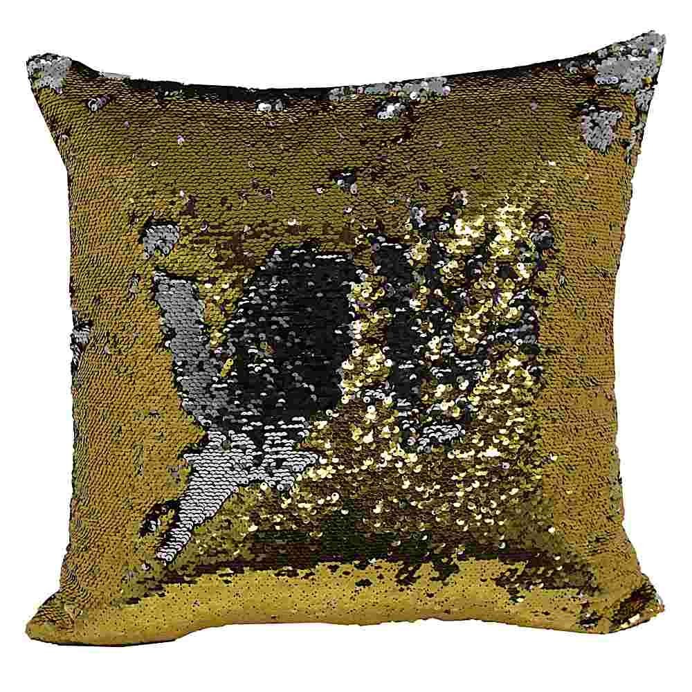 Park Lane Mermaid Sequin Throw Pillow in Gold and Silver 20in x 20in