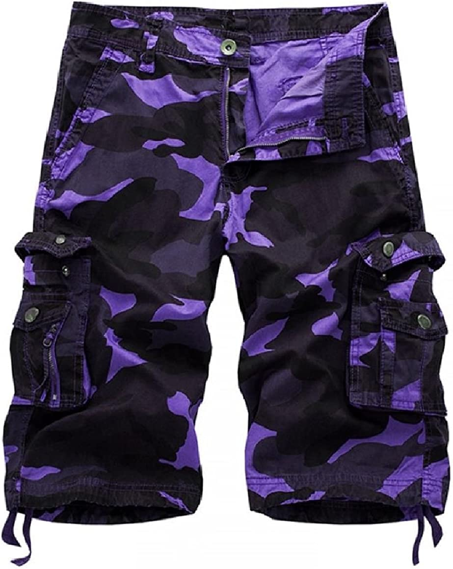 SportsX Men Camo Print Outdoor Fitted 1//2 Length Comfy Over Sized Army Multi Pockets Shorts Cargo Pants