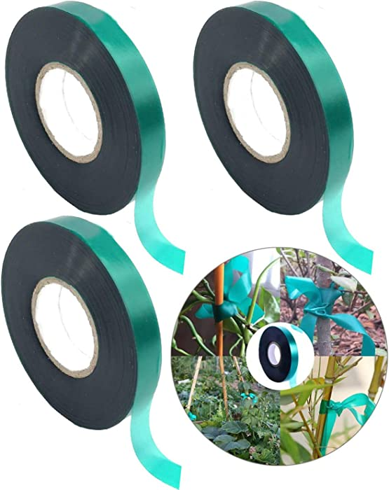 Medoore 3 Rolls 150 Feet Stretch Tie Tape 0.5 Inch Garden Tie Tape Thick Plant Ribbon Garden Green Vinyl Stake for Indoor Outdoor Patio Plant Use