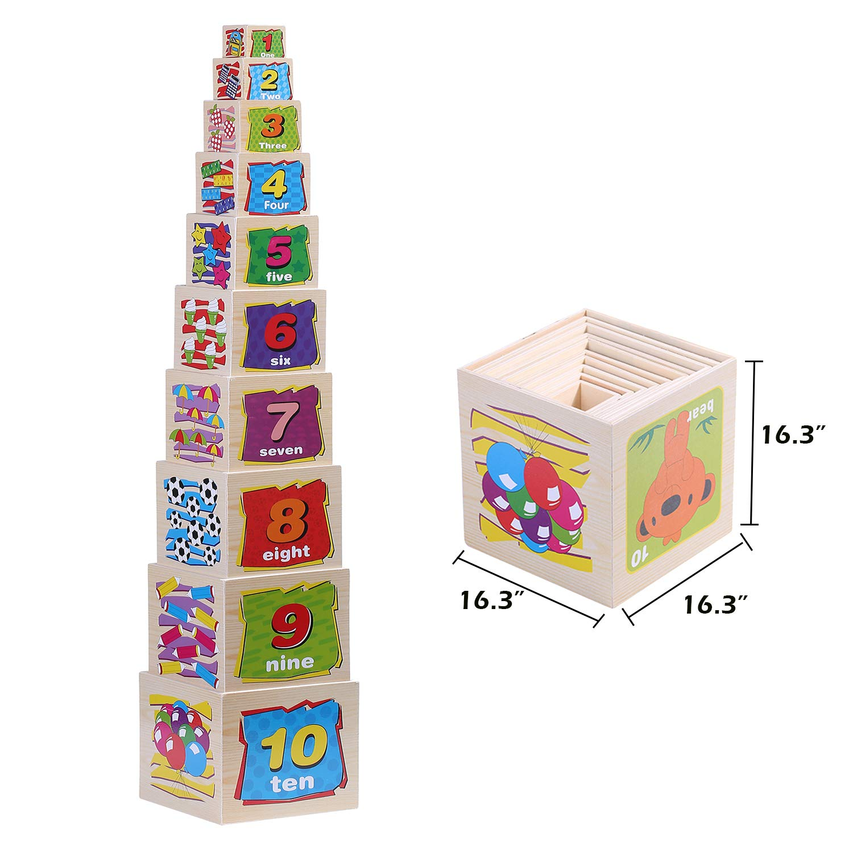 Wondertoys 10 Piece Wooden Nesting Blocks Stacking Boxes Educational Toys for Kids