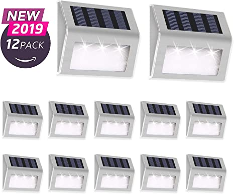 Solar Powered Garden Lights Patio Outdoor Led Lighting Stainless Steel Set of 3