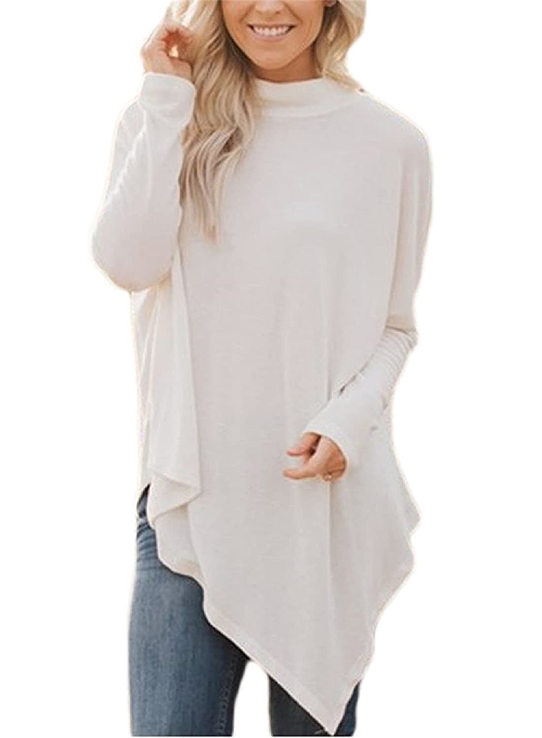 Hount Womens Long Batwing Sleeve Pullover Tunic Top Turtleneck Hankerchief Hem Loose Casual Blouse