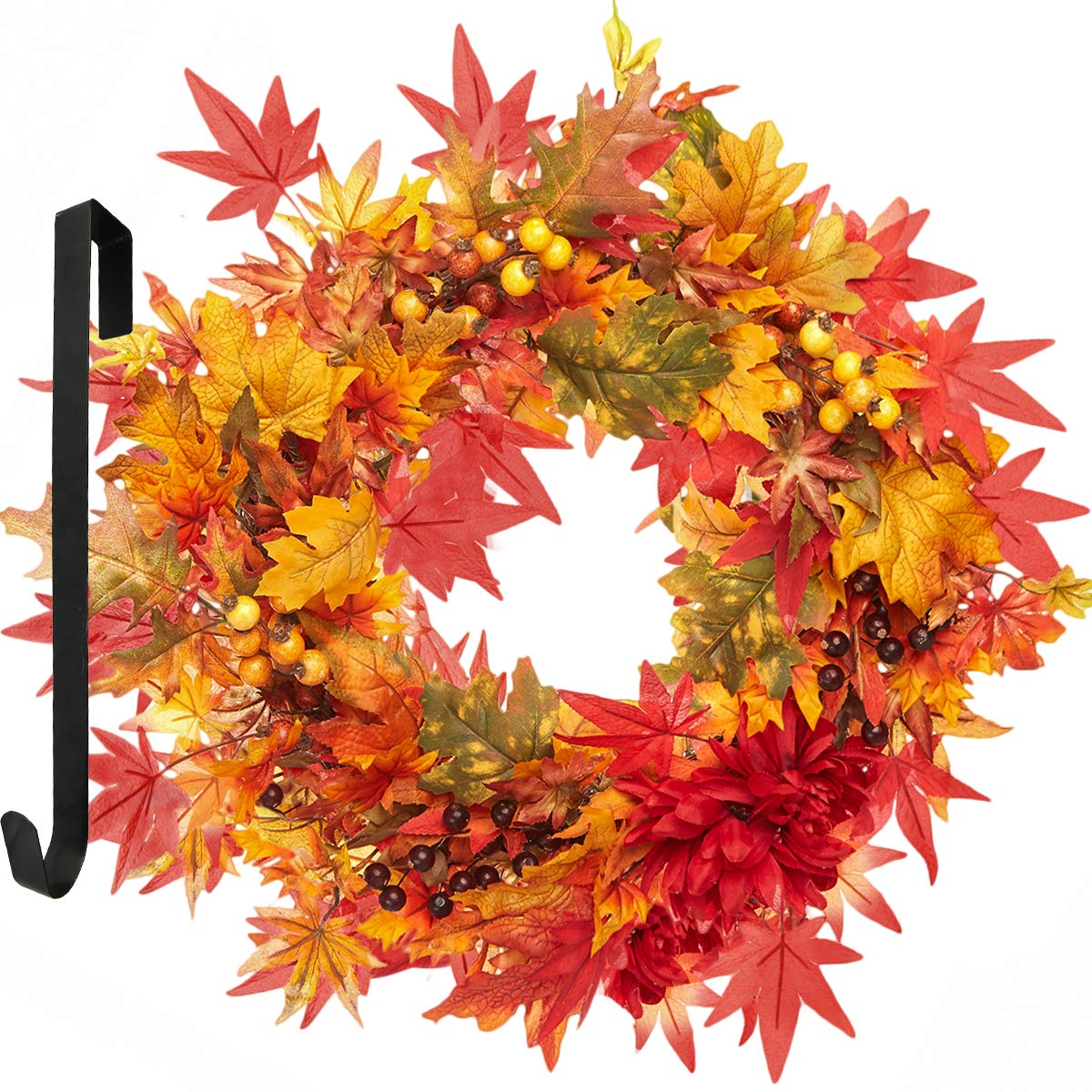 LIFEFAIR Fall Wreath for Front Door with Autumn Harvest Maple Leaf and Berries, 22 Inches Fall Door Wreath,Berry Wreath,The Wreath Hanger Included by LIFEFAIR