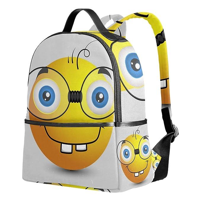 COOSUN Divertido Emoji Smiley Emoticon Escolares Mochilas Bolsas de Libros para Niños Niñas Adolescentes Niños Medio Multi # 2: Amazon.es: Equipaje