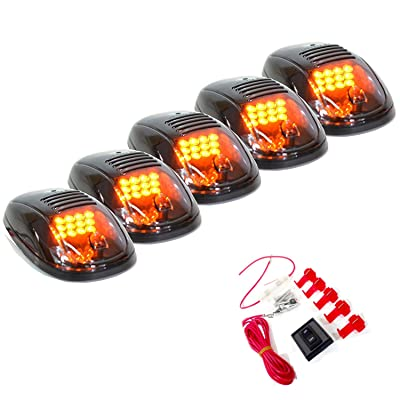 5 Pcs Smoked Lens 12 Amber LED Cab Marker Clearance Light Roof Running Light Assembly For 2003 To 2016 Dodge Ram 1500 2500 3500 4500 5500: Automotive