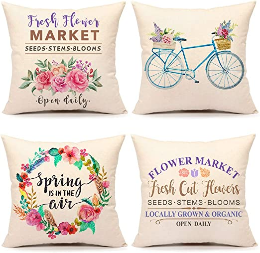 Amazon Com 4th Emotion Spring Flower Market Throw Pillow Cover Farmhouse Cushion Case For Sofa Couch 18 X 18 Inches Cotton Linen Set Of 4 Home Kitchen