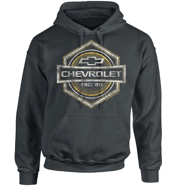 117c3bf34 Officially Licensed Chevy Heavyweight Pullover Hooded Sweatshirt Vintage,  Distressed, Old School Look Logo on Medium-Dark Charcoal Grey Hoodie
