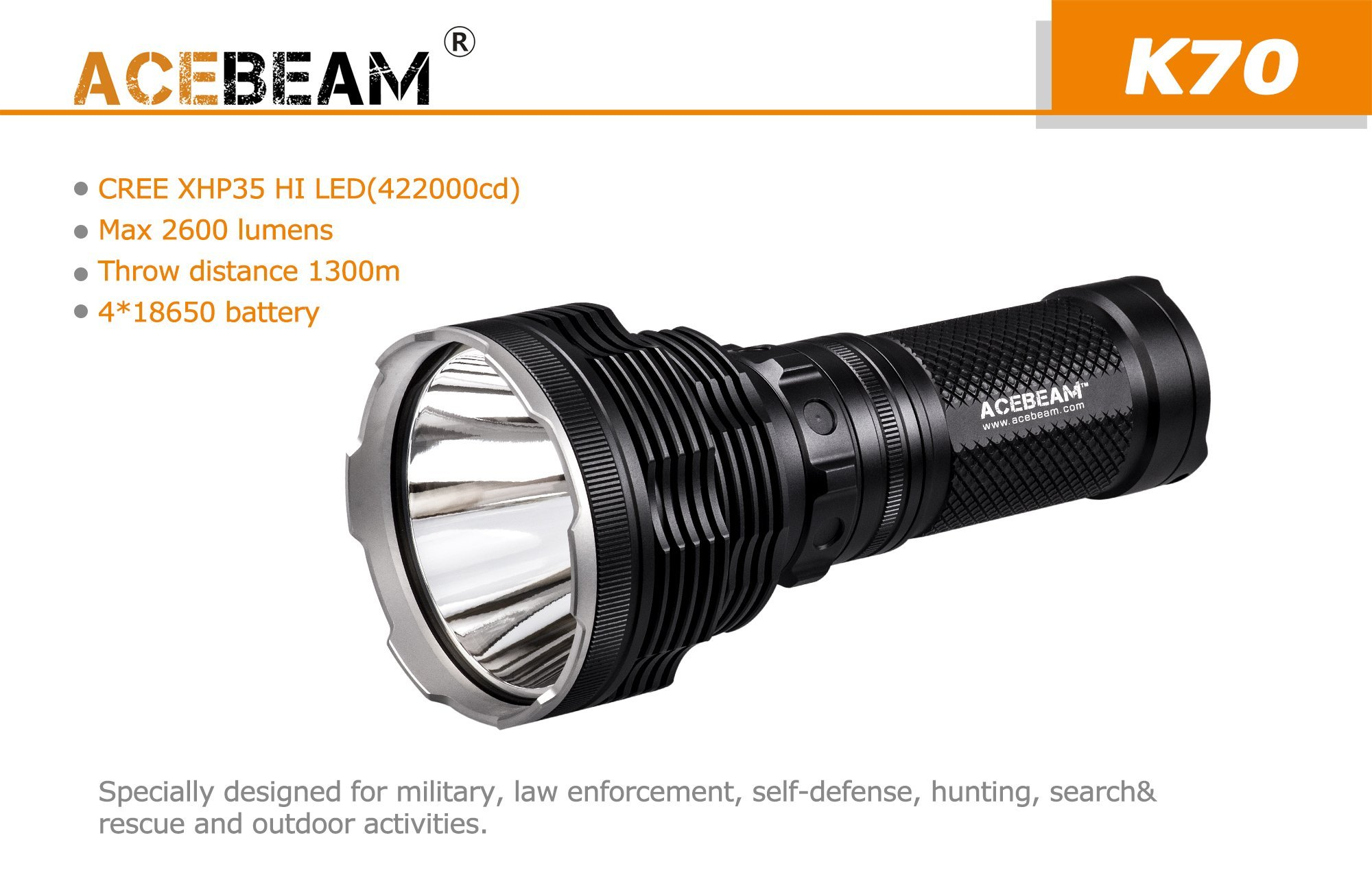 ACEBeam K70 CREE XHP35 Hi LED Flashlight Use 4x 18650 Battery 2600lumens Throw 1300meters by Acebeam (Image #2)