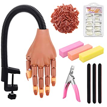 Practice Hand for Acrylic Nails, Adjustable Fake Mannequin Hands for Nails Practice, Flexible Movable Nail Tools Kits Practice Hand with Nail File, Clipper and 100pcs Coffin Nail Tips