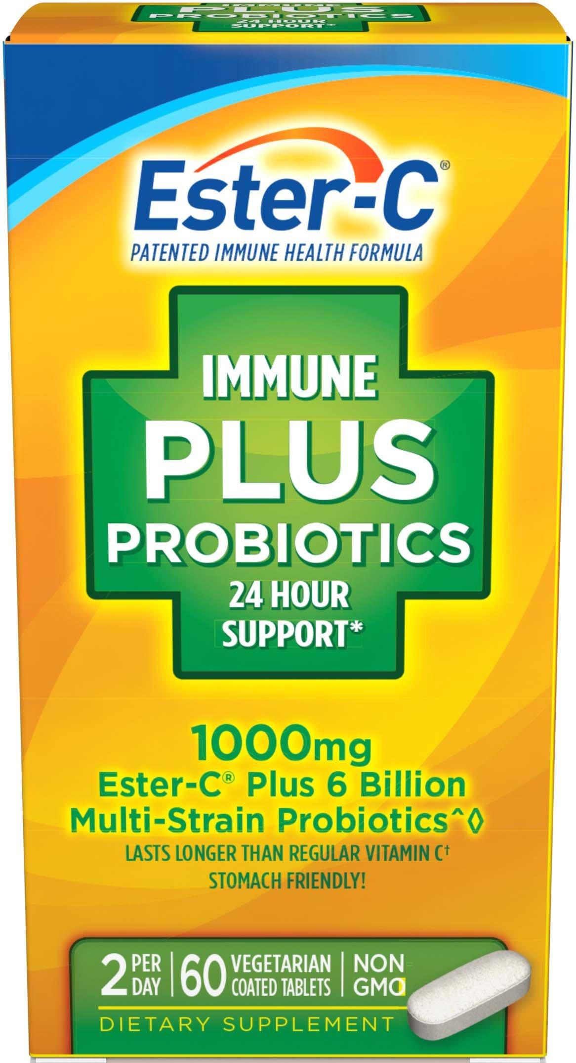 Ester-C Immune Plus Probiotics, 60 Coated Tablets