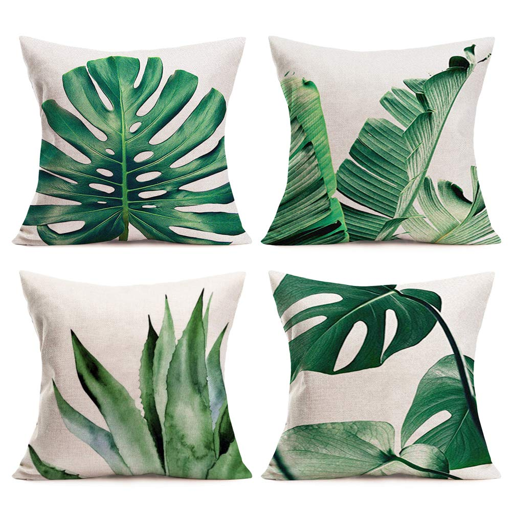 """Palm Leaves Throw Pillow Covers Cotton Linen Home Decorative Pillow Covers 18"""" x 18"""" Set of 4 Pillowslip with Tropical Banana Palm Monstera Leaves Print for Summer Style Decor (Tropical Palm Series)"""