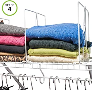 Evelots Closet Wire Shelf Divider-New & Improved-Separator-Easy Clip-Steel-Set/4