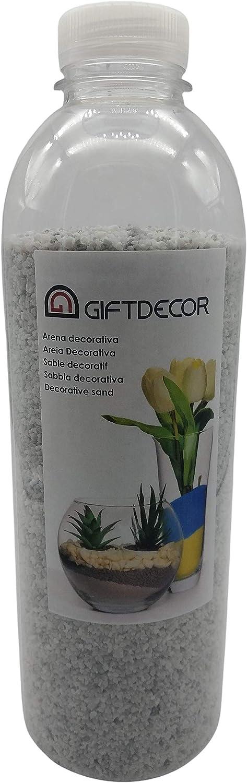 Giftdecor Arena Decorativa, sustrato de gravilla para Cuencos, macetas, jarrones, acuarios, Manualidades. Bote de 1,5 kilogramos.