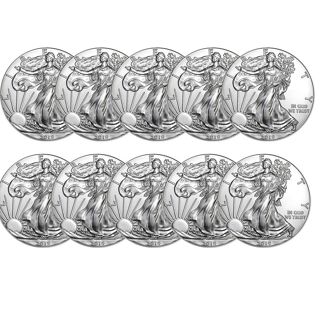 Lot of 2019 1 oz .999 Fine American Silver Eagle Bullion Coins 10