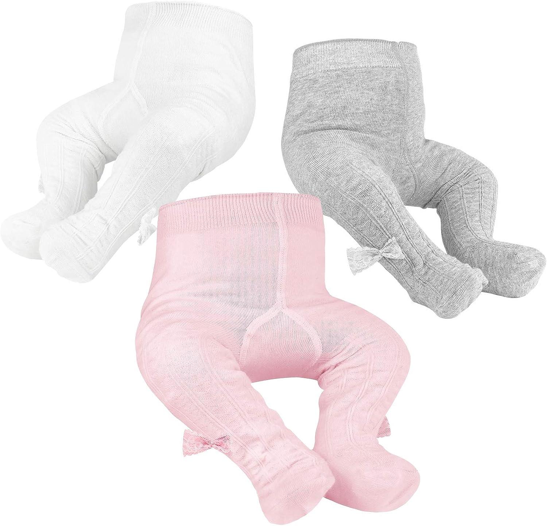 OioTuyi Mallas tejidas para bebé Leggings de algodón sin costuras Paquete de 3 pantimedias para niñas Bebés recién nacidos Niños pequeños 0-2Y
