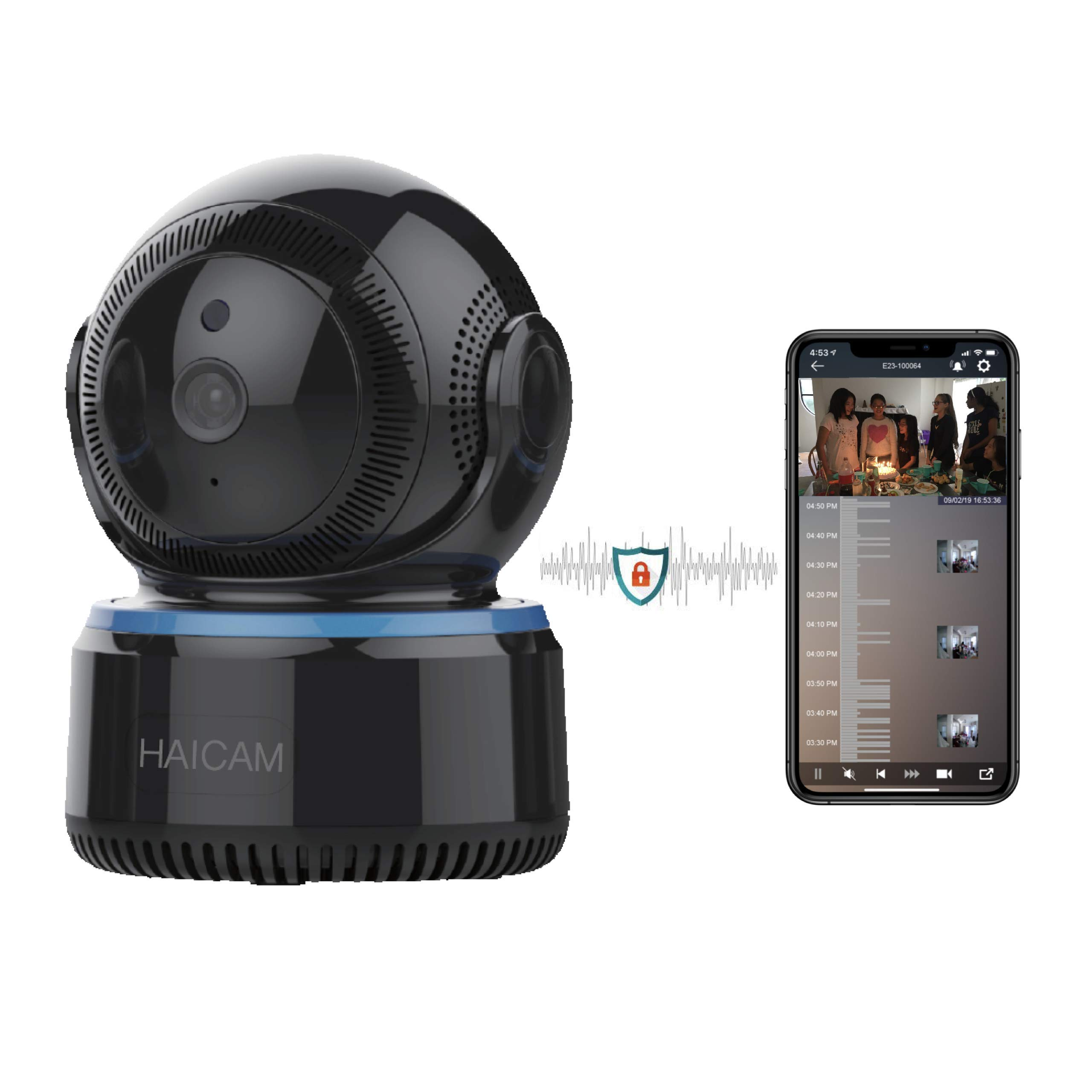 Haicam IP Camera End-to-End Encryption Home Security Surveillance Monitor with 2 Way Audio/Motion Sound Detection/Amazon/Apple/Google TV Apps - Cloud Service E23 by Haicam