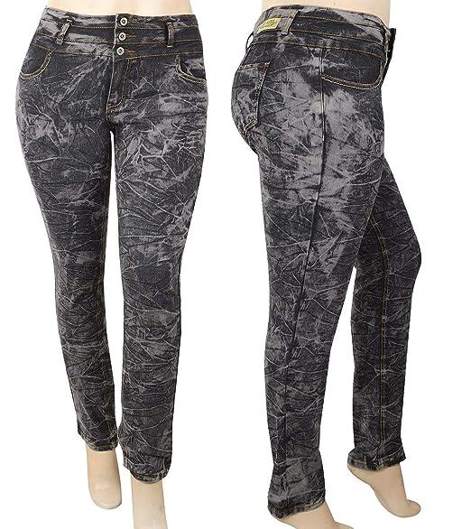 BE-Girl Womens High Waist Plus Size Acid Wash Black/Graey Denim Jeans  Skinny Stretch Jean Pants