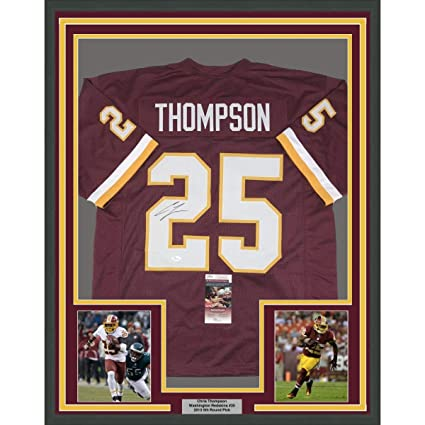 Framed Autographed Signed Chris Thompson 33x42 Washington Burgundy Football  Jersey JSA COA ecf9aabff