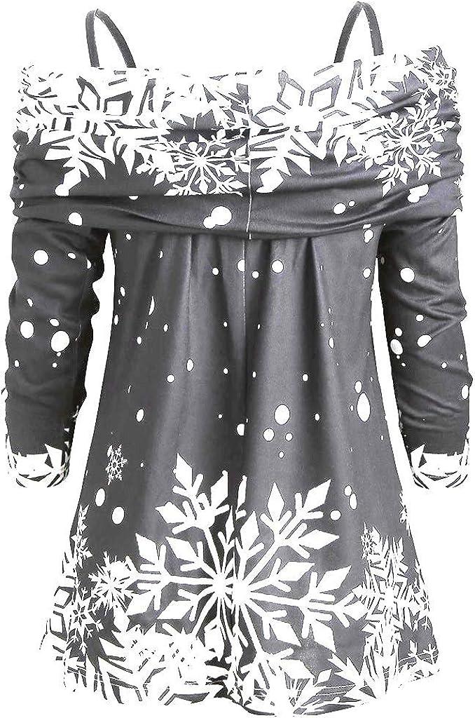 Pongfunsy Women Long Sleeve Ladies Fashion Christmas Snowflake Print Casual Sweatshirt Sling Top Blouse
